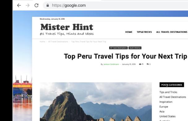 Travel Blog for MisterHint.com