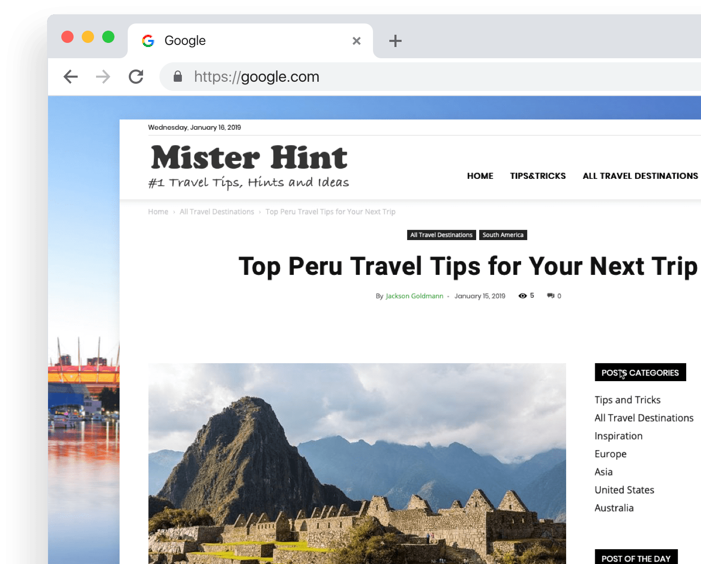 Travel Blog for MisterHint.com